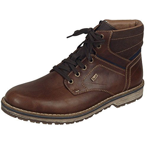 Stivali Mens 41 42 43 44 45 46 in pelle marrone Stivaletti lambswool Rieker Brown Combination