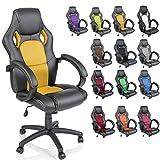 TRESKO Silla giratoria de oficina Sillón de escritorio Racing disponible en 14 colores, bicolor, silla Gaming ergonómica, cilindro neumático certificado por SGS, silla adecuada para niños mayores (Negro / Amarillo)