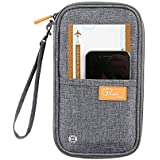 Trajectory Men's and Women's Fabric Travel Passport Holder and Document Organizer Wallet (Grey)