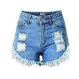DorkasDE Damen Hotpants Jeans Shorts Kurze Denim Hosen Fransen Verarbeiten Mädchen Shorts mit Quaste