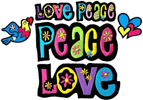 (i-Patch - Patches - 0167 - Applikationen - Stickerei - Love - Peace - Herz - zum aufbügeln - Aufnäher - Bus - Aufbügler - Hippie - Flower- Power - Frieden - Liebe - Flicken - Bügelbild)