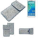 K-S-Trade® Filz Schutz Hülle Für -General Mobile GM 8- Schutzhülle Filztasche Pouch Tasche Case Sleeve Handyhülle Filzhülle Hellgrau, Blauer Rand