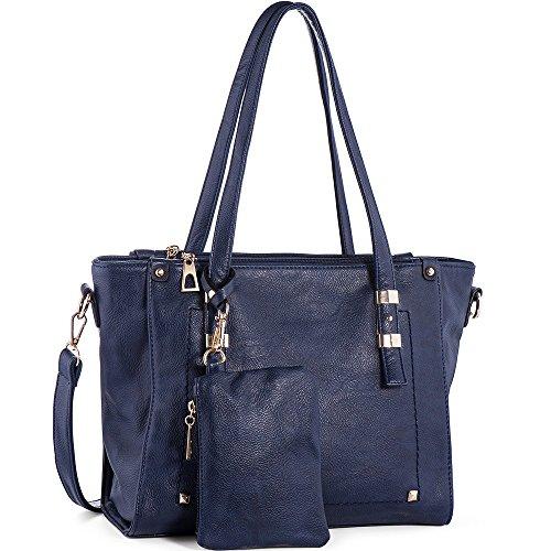 In Angel Damen Taschen Handtaschen Umhängetaschen Damen Henkeltaschen Schultertasche Large Tote PU Leder Handtaschen Geldbeutel (L30cm * W12cm * H26cm) Blau