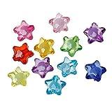 SiAura Material 200 Stück Acrylperlen 11x12mm mit 2mm Loch, Sterne, Mix Bunt zum Basteln und Auffädeln