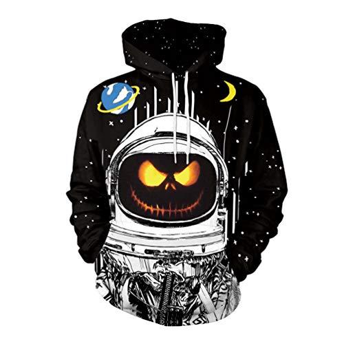 (Xinwcang Unisex Slim Fit Kapuzenpullover Druck Sweatshirt Pullover Halloween Teufel Kürbis Gesicht Drucken Top 2XL)