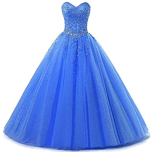 Zorayi Damen Liebsten Lang Tüll Formellen Abendkleid Ballkleid Festkleider Himmelblau Größe 44