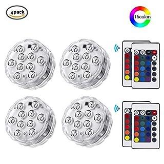 TechSmile Unterwasser Licht mit Fernbedienung, RGB Multi Farbwechsel Wasserdichte LED Leuchten Teichbeleuchtung für Vase Base, Dekoration [Energieklasse A++]