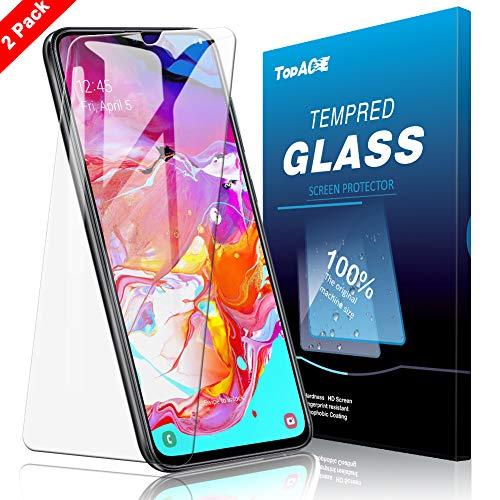 TOPACE Schutzfolie für Samsung Galaxy A70, (2 Stücke) Ultra Dünn HD Transparenz Panzerglas Anti-Öl Anti-Kratzer und Blasenfrei 9H Gehärtetes Glas Displayschutz für Samsung Galaxy A70