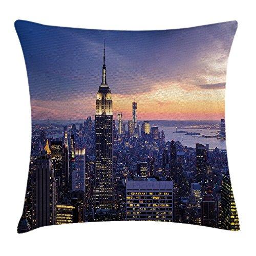 DCOCY Moderne Deko-Kissen, Kissenhülle mit, New York City Skyline, Wolkenkratzer, Sonnenuntergang, Nacht, Stadt-Deko-Bild, quadratisch, orange, Kissenbezug 18x 18cm, Blau (Party-stadt New York City)