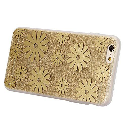 iPhone 6S Hülle,iPhone 6 Hülle,ikasus® iPhone 6 / 6S Silikon Hülle [Kristallklar Durchsichtig],Bling Funkeln Glänzend Glitzer Überzug Muster Stoßdämpfend Transparent TPU Silikon Schutz Handy Hülle Cas Golden Gänseblümchen