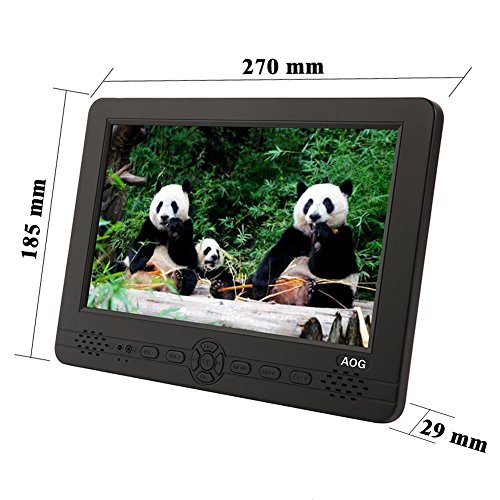 AOG AG-101   10 1 Inch Portable TV with Freeview DVB-T DVB-T2 H 265 HEVC Tuner-Used as Small TV Little TV Car TV with Two Speakers and Earphone Jack in the Front of the TV-HD Aerial Included
