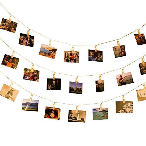 SXRL Lichterkette Fotoclips LED Fotolichterkette Bilder Foto Karten Weihnachten Party Wohnung Deko Wohnzimmer Schlafzimmer 40 LEDs mit Fernbedienung Timer 6m Warm 8 Modi Batteriebetriebene
