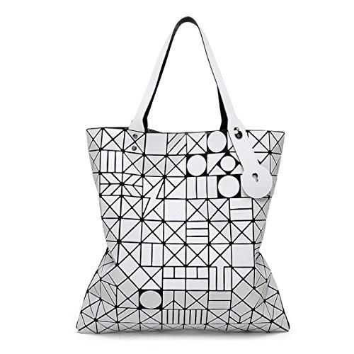 FZHLY Versione Coreana Del Semplice Pacchetto Selvaggio Laser Geometrica Ling Griglia Pieghevole Handbag,Red White