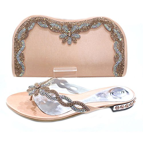 W & W femmes Mesdames cristal Diamante chaussures et sac assorti Taille (Gemz & Tango) Pêche