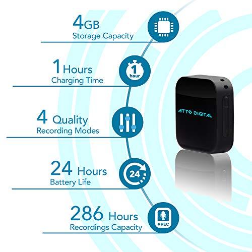 Mini Diktiergerät, Stimmenaktivierung, Passwortschutz, 24 Stunden Akku, 286 Stunden Aufnahme – Klein 4GB Spionage Rekorder