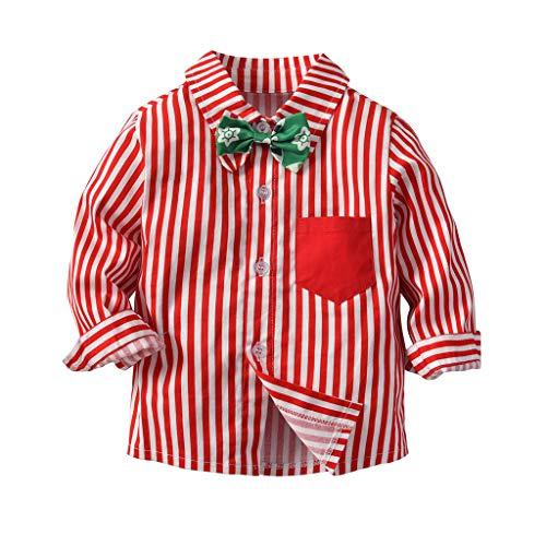 Cuteelf Baby Boy Weihnachten Fliege Boy Weihnachten Tag Anzug Gentleman Weihnachten Kostüm Kleiner Gentleman gestreiften Langarm Shirt + Lätzchen Zweiteilige Weihnachten Kostüm Set
