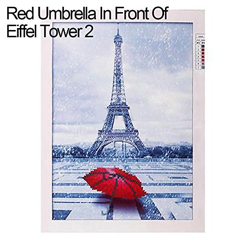 t Malerei Eiffelturm Rot Regenschirm Stickerei Kreuzstich Home Decor, Red Umbrella in Front of Eiffel Tower 2, Einheitsgröße (Eiffel Tower Home Decor)