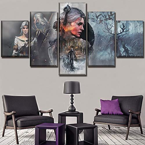 GHDE& Wandkunst Wohnkultur Modular Bild EIN Satz Spielplakat 5 Stücke Hohe Qualität Leinwanddruck The Witcher 3 Wilde Jagd Gemälde,A,40 * 60 * 2+40 * 80 * 2+40 * 100 * 1 -