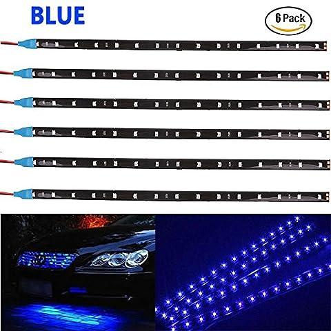 Ei-home 6-pack 30cm 30cm 352815LED 144lumens étanche IP67Flexible haute lumineux LED strip light pour auto Moteur Home Décoration DIY Vacances d'éclairage (Bleu)