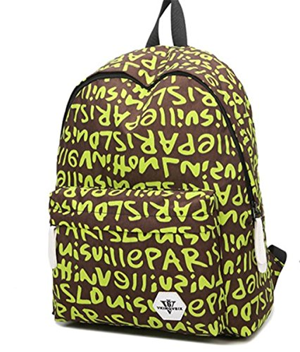 Preisvergleich Produktbild SHFANG Double Schulter Rucksack Student Schultasche Letter Pattern Outdoor Wasserdicht Creative Unique School Daily , green letters