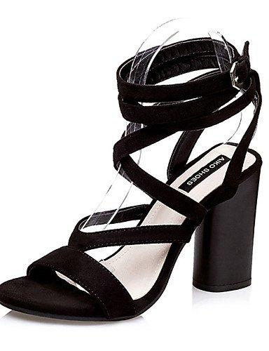 WSS 2016 Chaussures Femme-Décontracté-Noir / Marron-Gros Talon-Talons-Talons-Laine synthétique black-us8 / eu39 / uk6 / cn39