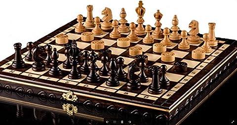 OLYMPISCHE KIRSCHE SCHACH & ZUGLUFT - 35cm/14 In Handarbeit aus Holz Schachspiel mit Dame