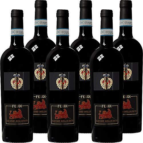 Aglianico Feudi Sannio Doc | Vino Rosso della Campania | Confezione da 6 Bottiglie da 75 Cl | Idea Regalo