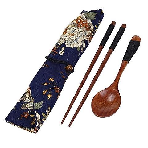 MORCHAN Ensemble de vaisselle porte-bagages portables en bois portatif Vintage + Blue Bag baguettes cuillère Sac (B, marron)