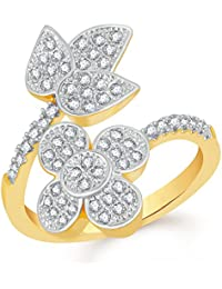 VK Jewels Flower With Leaf Gold And Rhodium Plated Alloy CZ American Diamond Adjustable Ring For Women [VKFR2786G]