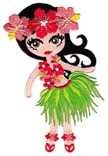 Patch Hula Tänzerin Hawaii Mädchen Aufnäher Bügelbild Flicken Größe 6,9 x 10,0 cm