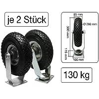 2x Lenkrolle + 2x Bockrolle 260 mm x 85 mm Metall-Felge