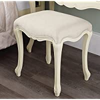 Juliette Shabby Chic Champagne Stool. Stunning cream French stool with upholstered seat. STURDY and ASSEMBLED