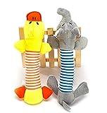 Unicoco set di 2pezzi di giocattolo Biter con suoni per cane cucciolo di cane peluche elefante anatra