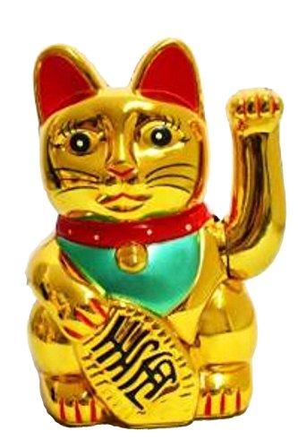 Gato de la suerte Maneki en oro 13cm. Maneki Número de artículo: Maneki de cm de oro Color: GOLD, Altura: 13cm Las. amuleto de la suerte Maneki es de plástico y la mano izquierda (saluda.. saludas suerte//dinero y prosperidad. usted se suministra s...