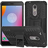 Pinaaki Hybrid Military Grade Armor Kick Stand Back Cover Case for Lenovo K6 Note (Black)