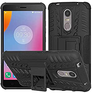 Qzey Kick Stand Hard Dual Rugged Armor Hybrid Bumper Back Case Cover for Lenovo K6 Note - Black