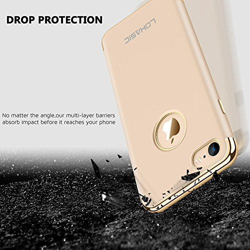 Coque iPhone 7, LOHASIC [Coupe-Fit] Double Pare-chocs [Hard PC Cover + TPU Inner] Fini mat avec une excellente protection contre les gouttes et Scratch Cover Case pour iPhone 7 - [Or Rose] Or