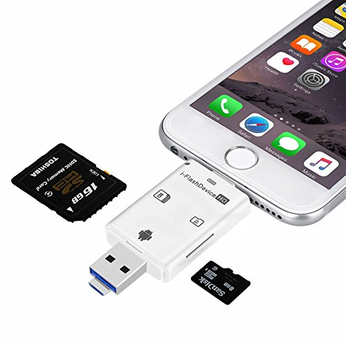 [Novità] Flash Drive Smart Card Reader alta velocità lampo Mirco SD Card/USB/SDHC/TF/OTG 5-in-1 PC USB Flash Drive per iPhone iPad e Android da Okapia(Bianco)
