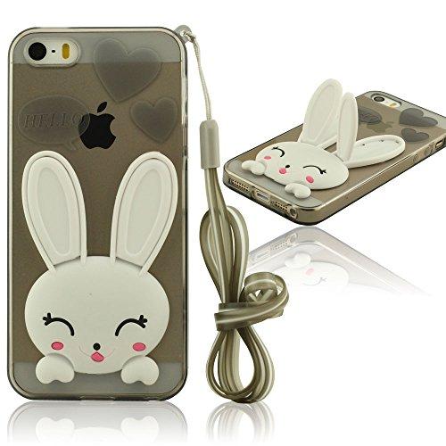 iPhone 5 5S Hülle Mit Strap, Niedlich Weiß Hase ( Ohren Bewegen Kann ) Flexibel Weiche TPU Material Skin Cover Case ( iPhone 5C Nicht Passen ) - Rot Schwarz