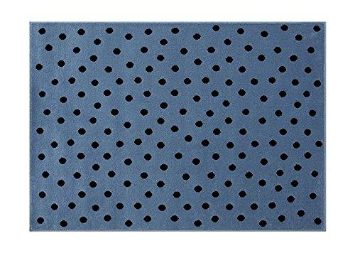 Lorena Canals. Alfombra de Lunares, acrílico, Azul/Negro, 120x 160x 30cm