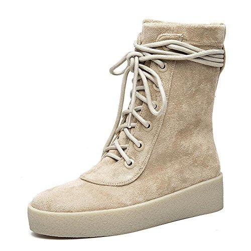 Da donna corto stivali in pelle scamosciata piatto tacchi Warm casual comfort lacci scarpe, KHAKI-38 KHAKI-34
