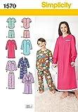 Simplicity Schnittmuster 1570Schlafanzug, Pyjama, Nachthemd und Bademantel Kinder