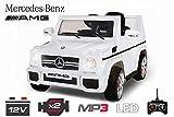 Lizenz Kinderauto Mercedes - Benz G65 AMG 2 x 20W 6V MP3 RC Elektroauto Kinderfahrzeug Ferngesteuert Elektro (Weiss)