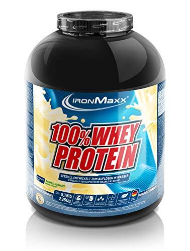 IronMaxx 100% Whey Protein - Eiweißpulver für Fitness-Shake - Wasserlösliches Proteinpulver mit Banane-Joghurt Geschmack - 1 x 2,35 kg Dose