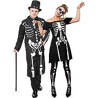 fbeb6e34a9aac4 ILOVEFANCYDRESS Knochen Skelett Paare KOSTÜM VERKLEIDUNG Halloween Tag DER  Toten Karneval Fasching Skater Kleid