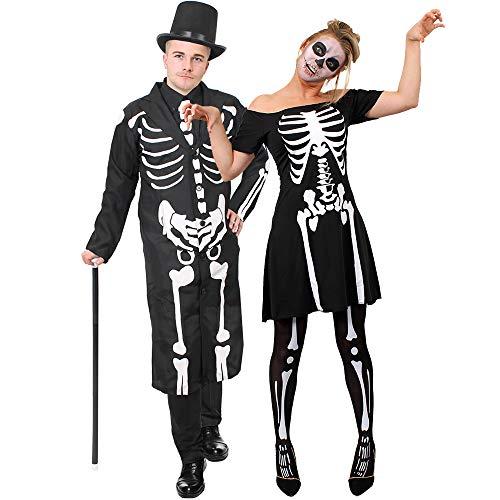(ILOVEFANCYDRESS Knochen Skelett Paare KOSTÜM VERKLEIDUNG Halloween Tag DER Toten=Karneval Fasching=Skater Kleid+Strumpfhose+Frack+Zylinder+TANZSTOCK+SCHMINKE=Kleid/Large+Frack/Large)