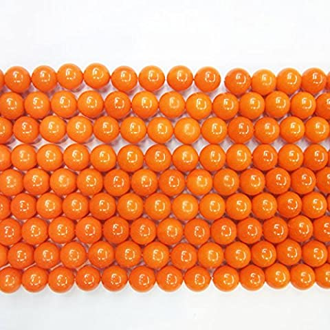 TheTasteJewelry 10mm Round Orange Coral Type A Grade Shell Beads 15 inches 38cm Jewelry Making Necklace