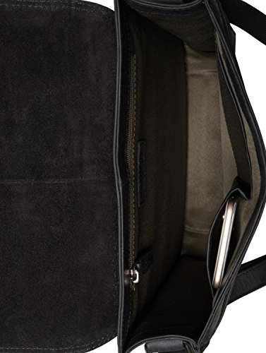 LEABAGS London - Borsa Messenger in vera pelle di bufalo - Look vintage - Marrone chiaro  1 Nero