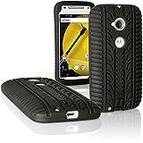 igadgitz u3813Reifen Handy Silikon für Motorola Moto E 2A Generation XT152Gummi Cover mit Displayschutzfolie–Schwarz