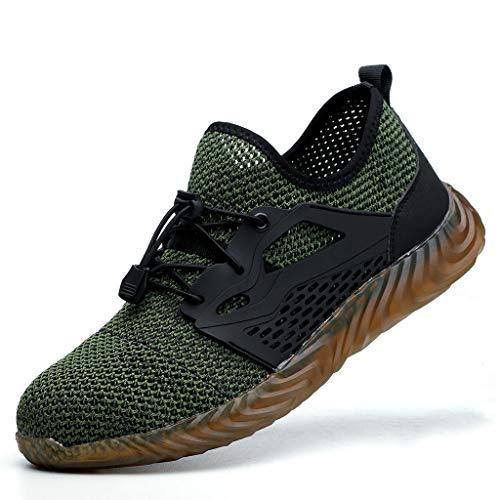 fazry Hommes Acier Doigt de Pied sécurité Travail des Chaussures Poids léger Respirant Décontractée De Plein air Athlétique Caleçon Résistant Mode Baskets(43 EU,Vert
